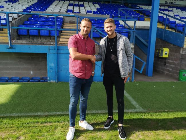 LATEST RECRUIT: Barrow AFC manager Ian Evatt with new signing Patrick Brough