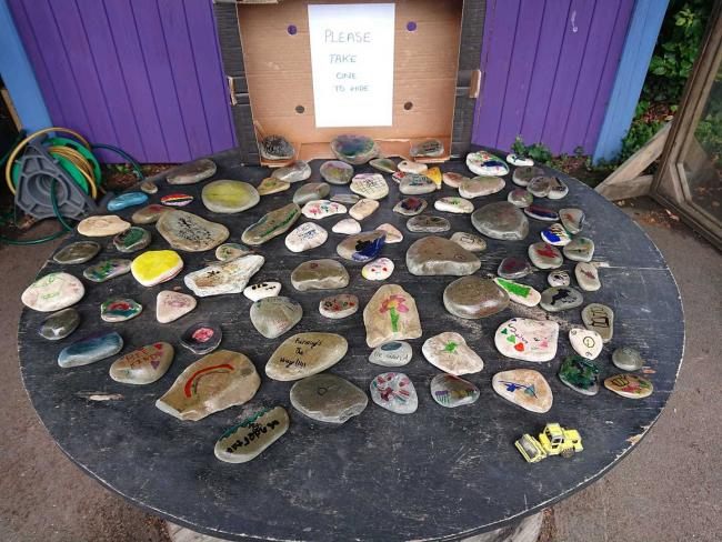 Broughton Primary School pupils decorated pebbles as part of the Outdoor School Day