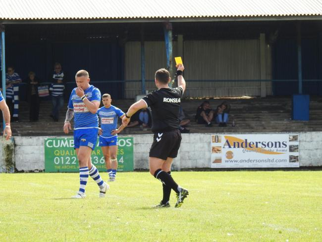 Jamie Dallimore is shown a yellow card during Barrow Raiders' match against Halifax