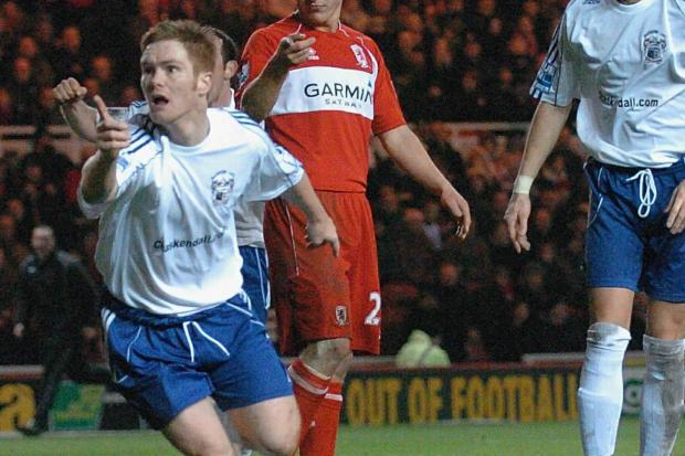 FAMOUS STRIKE: Walker celebrates scoring against Premier League Middlesbrough in the third round of the FA Cup in 2009