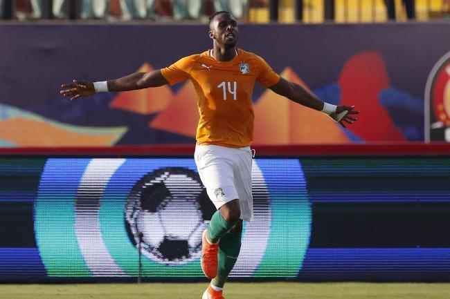 Ivory Coast's Jonathan Kodjia celebrates his goal against South Africa
