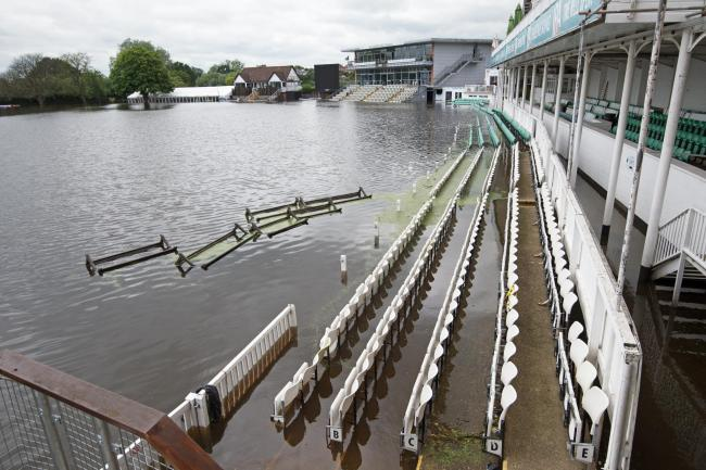 Worcestershire County Cricket Club's New Road ground fully submerged by floodwater following heavy rainfall on June 17 2019