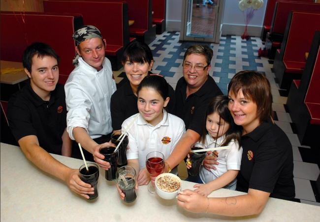 FEAST Staff at Mustang Sally's American diner on Dalton Road, Barrow, in August 2008 for an opening promotion.