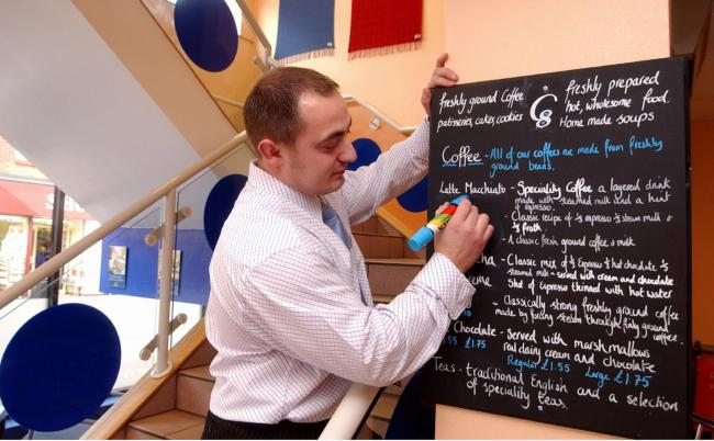 DRINKS Manager Lee Harrison at Barrow's C8 Cafe in May 2003 when a drink of hot chocolate was £1.55.