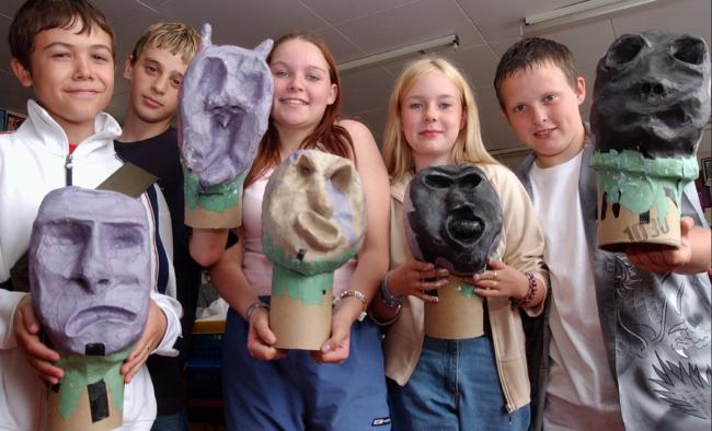 SHAPES Pupils of Walney School taking part in a puppet making project in July 2003.