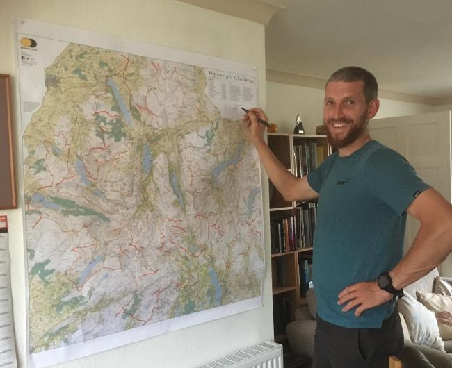 RUN: Record-breaking runner Paul Tierney, who set a new record of six days, six hours and five minutes for his triumphant Lakeland Fell charity run, will be selling off the map used at mission control. The map was used for the run will be auctioned off to