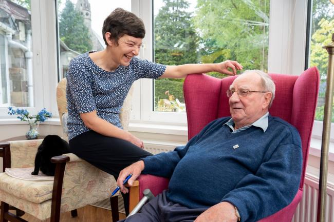 DEDICATED: Care manager Charlotte Gregson with an Old Vicarage care home resident
