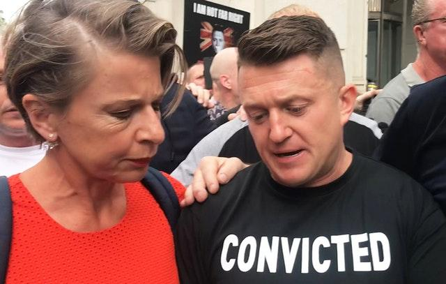 SENTENCED: Tommy Robinson stands with supporter Katie Hopkins