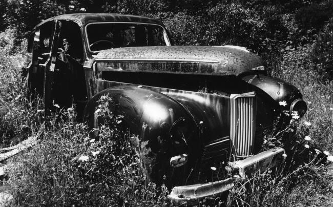 SOMBRE The remains of a vintage Humber funeral vehicle which were rotting away at Lindal in July 1995.