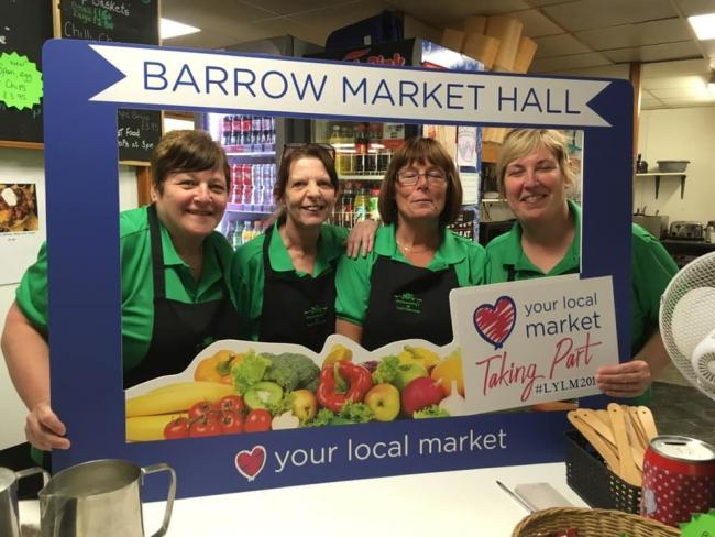 SUPPORT: The team from Mammy's Cafe in Barrow Market showing their support for the Love Your Local Market scheme.
