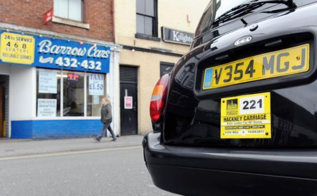 LIFTED: A Hackney carriage black cab on Dalkeith Street in Barrow