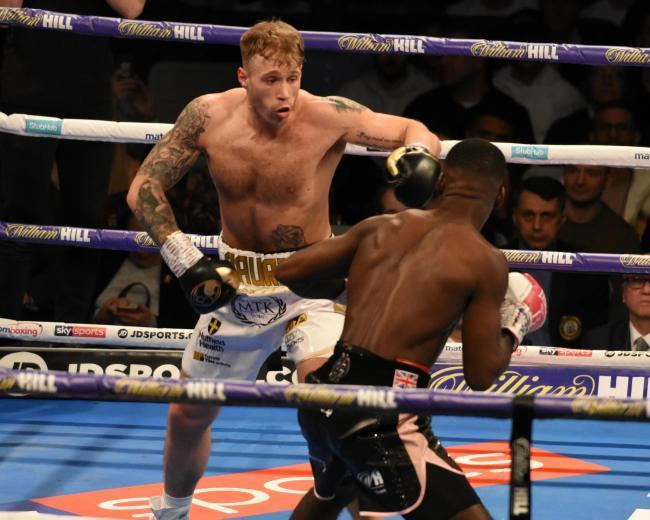 Liam Conroy during his British light heavyweight title fight against Joshua Buatsi