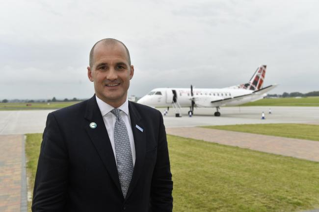Northern Powerhouse Minister Jake Berry celebrating the start of commercial flights from Carlisle Lake District Airport last year (Picture: Stuart Walker)
