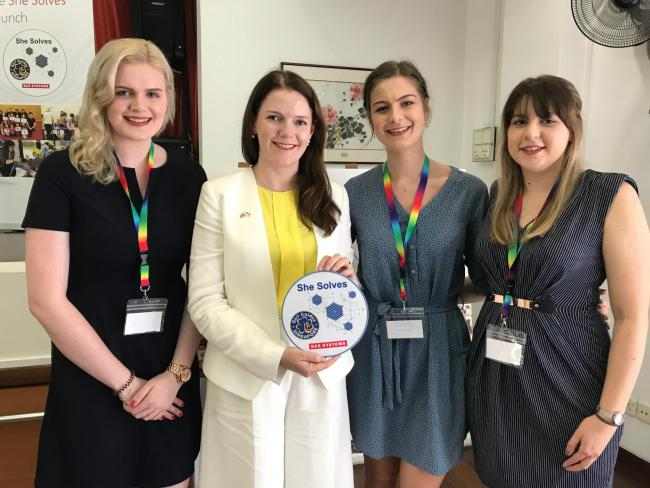 Left to right: Lauren Eastburn, HM Trade Commissioner for Asia Pacific Natalie Black, Sophie Dent and Beth Howarth-Henry. The three engineers have received the BAE Systems Chairman's Gold Award, BAE's highest internal recognition for outstanding e