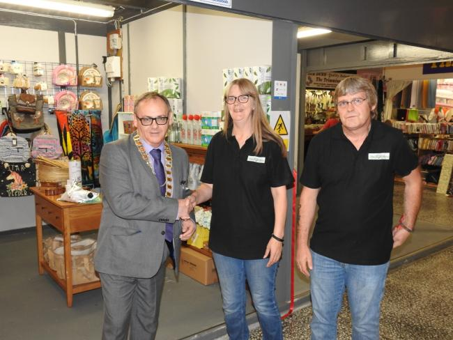 Mayor Kevin Hamilton welcomed the owners of the new stall to Barrow Indoor Market.