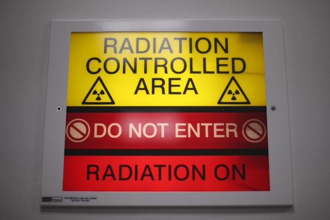A 'radiation controlled area' sign