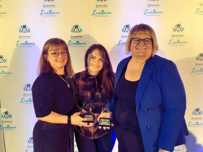 CONGRATS: Cumbria County Council's apprenticeship team picked up two top awards at the North West Apprenticeship Awards 2019