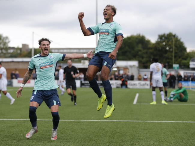 Dior Angus celebrates opening the scoring for the Bluebirds at Bromley