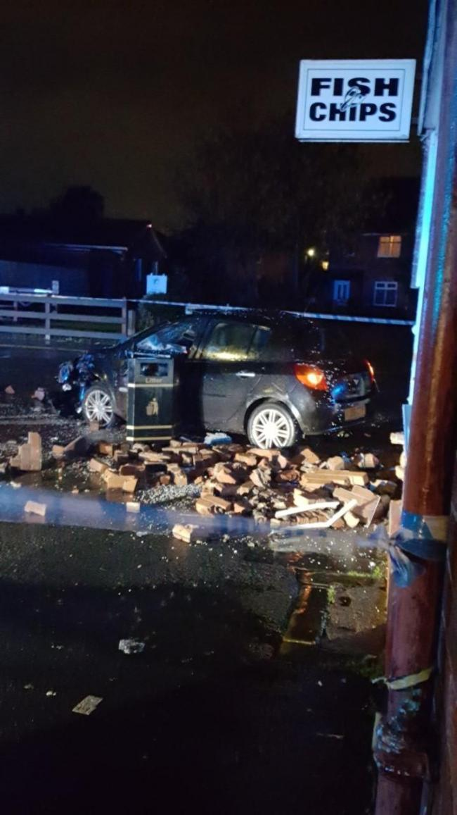 AFTERMATH: The crash caused considerable damage to St Luke's Chippy