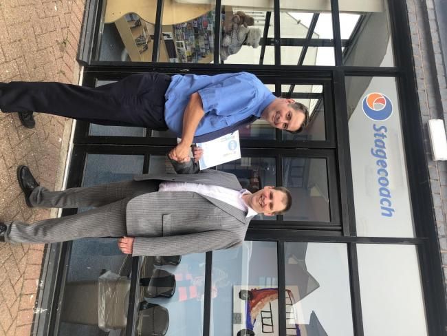 Stagecoach Cumbria and North Lancashire MD Mark Whitelocks (on the right) with Carlisle driver Darren Johnson who was Star of the Month in June.