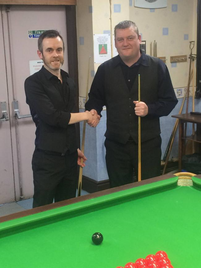 Tommy Barbour (right) made the highest break of the season so far