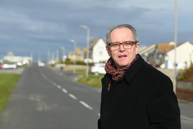 SLOW DOWN: Cllr Frank Cassidy supporting plans to put speed restrictions on Walney road.
