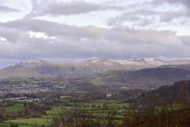 November weather. A light dusting of snow on the higher Lakeland peaks near Keswick..
