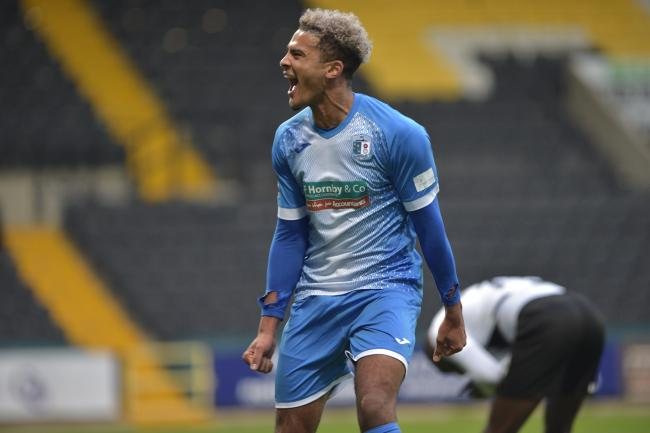 MAN IN FORM: Dior Angus celebrates giving Barrow AFC the lead at Notts County           Picture: B&O Press Photo