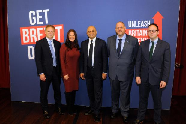 Chancellor of the Exchequer Sajid Javid and Secretary for Transport RT Hon Grant Shapps at Cleator Moor Civic Hall, 27 Nov 2019. Pics Jim Davis.