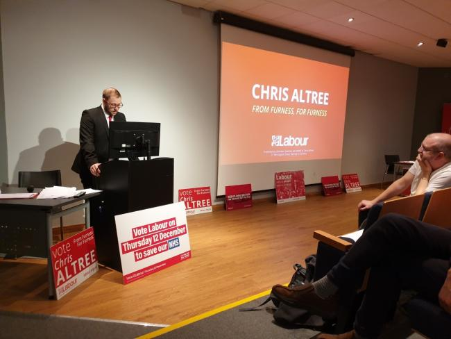 FUTURE MP?: Labour's parliamentary candidate for Barrow, Chris Altree, speaking at the members' rally.