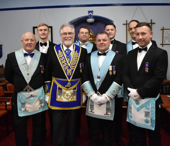 Grange over Sands' Barry Saunders, third from the left, has been installed as master of the Arthur John Brogden Lodge of Freemasons, he was joined by senior masonic figure Phil Gardner, on his right.