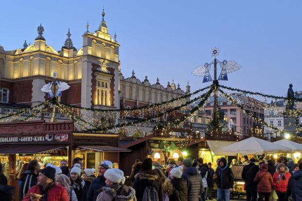 Undated Handout Photo of an evening scene from the Krakow Christmas Markets in Poland, as shoppers prepare for a night of shopping and revelry. See PA Feature TRAVEL Krakow. Picture credit should read: PA Photo/Jonjo Maudsley. WARNING: This picture must