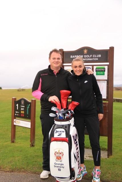 Srixon rep Neil Moore presents Georgia Stanway with her new clubs