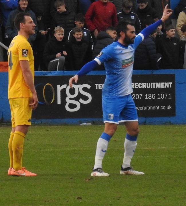 Sam Hird in action for Barrow AFC against Torquay United