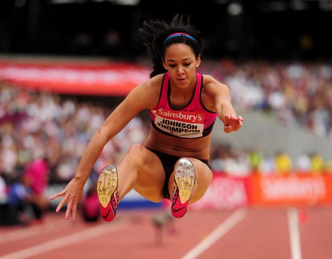 Great Britain's Katarina Johnson-Thompson during the women's long jump during day two of the IAAF London Diamond League meeting at the Olympic Stadium, London. PRESS ASSOCIATION Photo. Picture date: Saturday July 27, 2013. See PA S