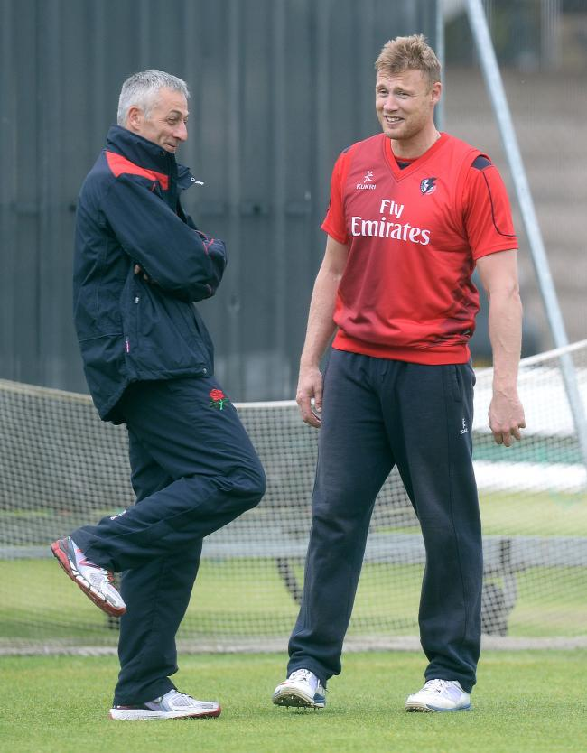 Andrew Flintoff (right) talks with Lancashire director of cricket Mike Watkinson before the Natwest T20 Blast match at Old Trafford, Manchester..