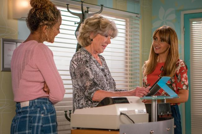 Undated ITV Handout Photo from Coronation Street. Pictured: (L-R) Alexandra Mardell as Emma Brooker, Sue Nicholls as Audrey Roberts and Samia Longchambon as Maria Connor. See PA Feature SHOWBIZ TV Quickfire Longchambon. Picture credit should r
