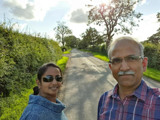 ENCOURAGEMENT: Consultant plastic surgeon Dr Jeyaram Srinivasan, pictured with wife Krishna, is a long-time advocate of the physical and mental health benefits of taking a countryside walk