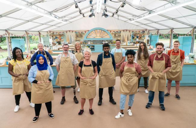 Mandatory credit: C4/Love Productions/Mark Bourdillon..Undated handout photo issued by C4/Love Productions of contestants (left to right) Hermine, Sura, Rowan, Marc, Laura, Linda, Mak, Dave, Loriea, Lottie, Mark and Peter from The Great British Bake Off 2