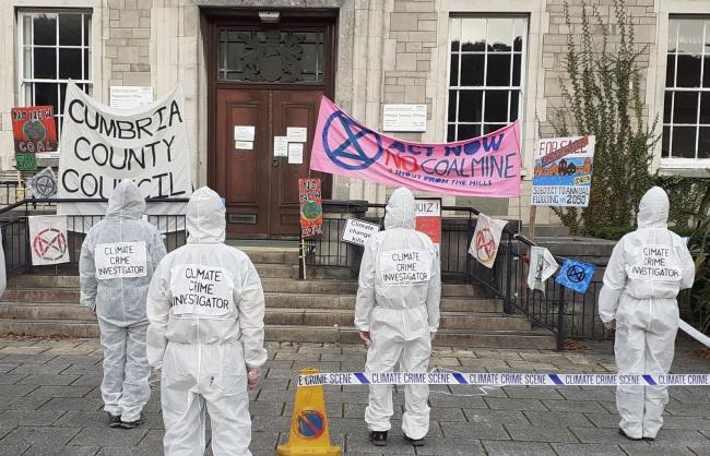Against: Extinction Rebellion Cumbria protest after the decision was made to approve the Whitehaven coal mine
