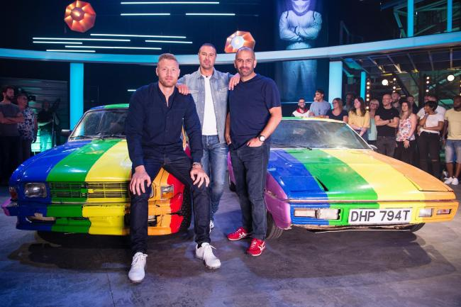 TEAM: Top Gear presenters Freddie Flintoff, Chris Harris and Paddy McGuinness