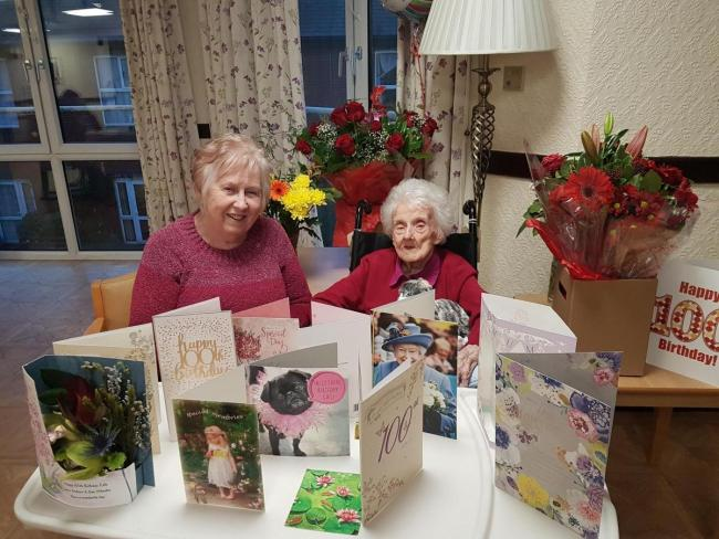CELEBRATION: Daughter Dianne with Edie on her 100th birthday