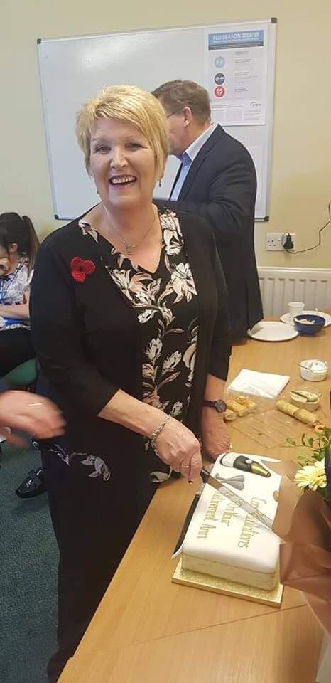 The Mail: CELEBRATING: Elizabeth pictured celebrating at her retirement party, she previously worked for ten years at the Dalton surgery