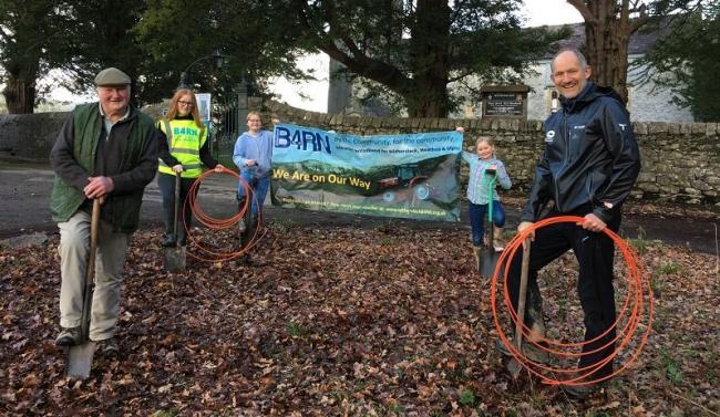 PLANS: Witherslack digging for broadband victory, from left retired farmer Danny Jackson, sisters Anya, Thea and Tilly Bennett and Steve Ratcliffe, from the B4RN steering group