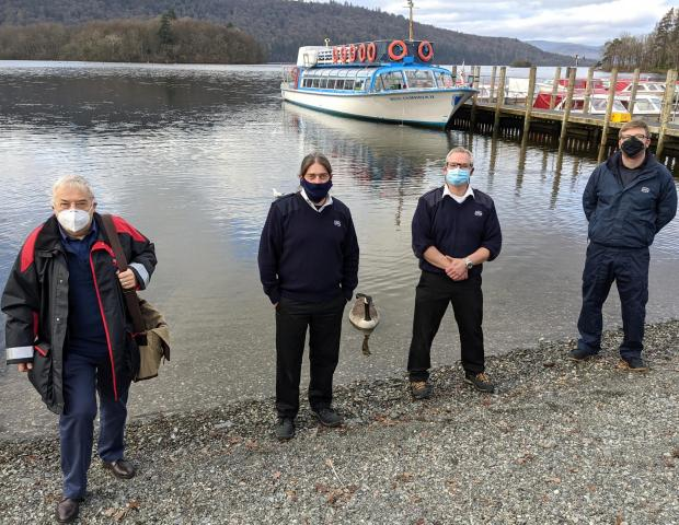 The Mail: (Left to right) Richard Snape of the Maritime and Coastguard Agency, with Windermere Lake Cruises Boat Masters Xavier Staub, Jon Oddie & Sam Badger