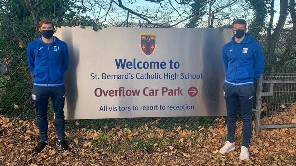 SCHOOL: Luke James and Matt Platt outside St Bernard's Catholic High School.