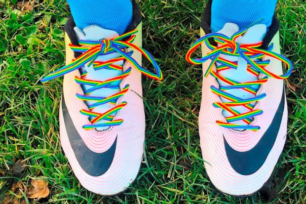RAINBOW LACES: Football boots.