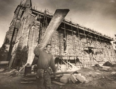 CHANGING: Work men beginning the construction of the church in 1997