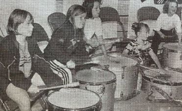 PRACTISING: Drummers pictured in 1998 at Forum 28