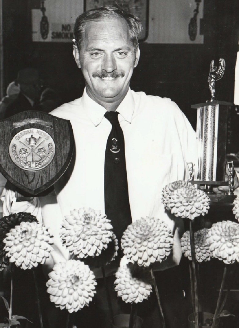 WINNING: Dahlias were the road to success for Gordon Benson, of Barrow, in the novice section at Barrow Horticultural Society Show in 1989